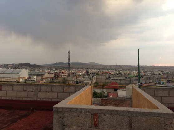 Our view from the roof. The beginning of the rain.