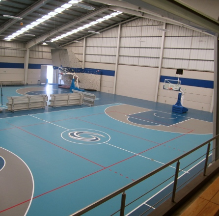 The gym where we played volleyball and basketball.
