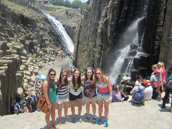 Some of the girls at the basalt prisms.