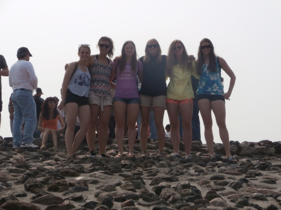 After a long climb, some of the girls on the Pyramid of the Sun.