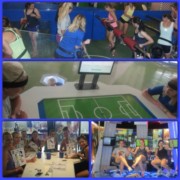 Human foosball, brain activity soccer, colouring jersey's for paper dolls, and hosting a talk show.