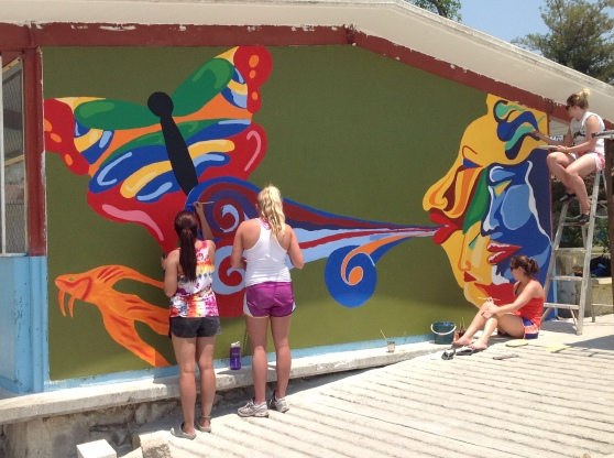Some of the girls working on Mural #2.